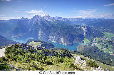 Konigssee lake in Germany - Alps mountains and Konigssee...
