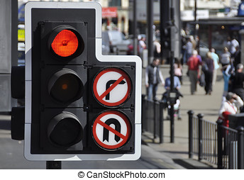 Traffic light at road junction - Red traffic light at road...