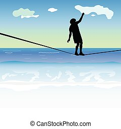 man walking on the tightrope above the sea
