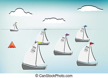 Sailboat race - Competition in sailing, sailboats from...