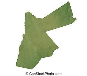Old green map of Jordan