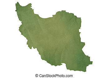 Old green map of Iran