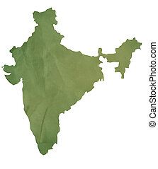 Old green map of India