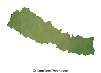 Old green map of Nepal
