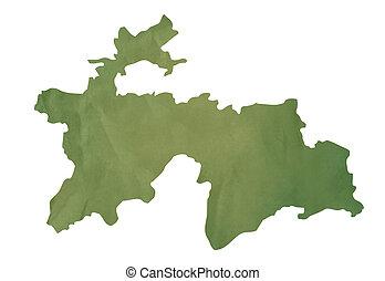Old green map of Tajikistan