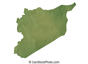 Old green map of Syria in textured green paper, isolated on...
