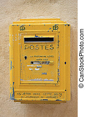 Old yellow postbox - Old yellow mailbox in France, postal...