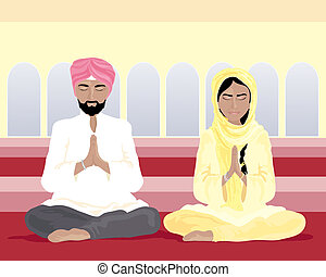 sikh prayer - an illustration of a sikh man and woman in...