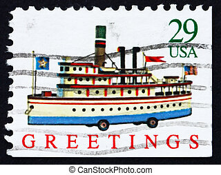 Postage stamp USA 1992 Ship Toy, Christmas - UNITED STATES...
