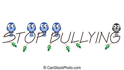 Stop bullying twig text isolated on white background