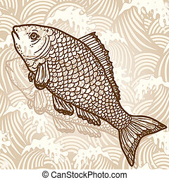 Sea fish Original hand drawn illustration in vintage style