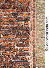 Brick walls in close up