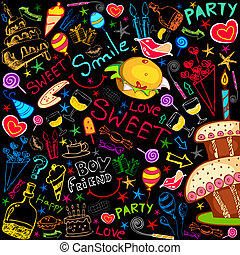 Colorful Food Party - illustration of colorful food drawing...
