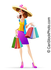 Lady with Shopping Bag - illustration of lady with shopping...