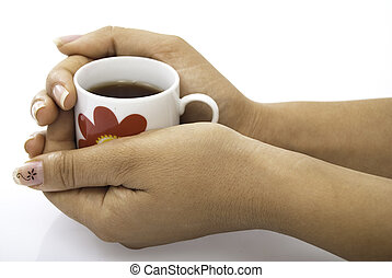 Cup of tea hold in hands