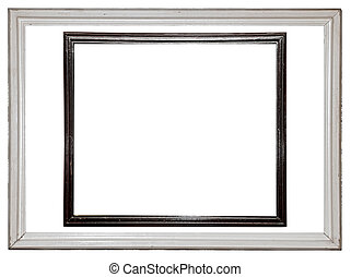 Distressed white and black painted picture frame isolated on white