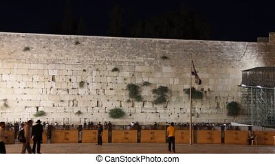 Western Wall and Flag of Israel - State flag of Israel at...