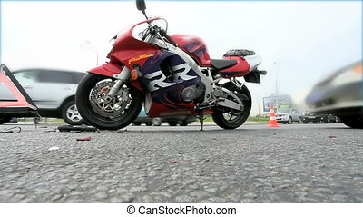 crashed motorcycle at the crossroads bottom view of the...