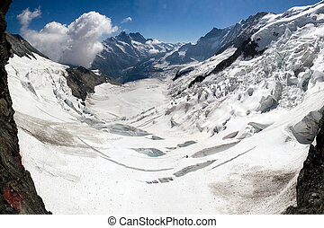 Eiger glacier panorama - Panorama of the Eiger glacier in...