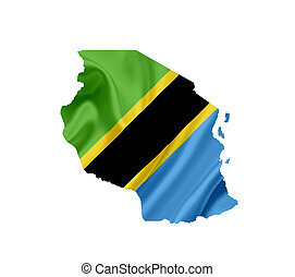 Map of Tanzania with waving flag isolated on white