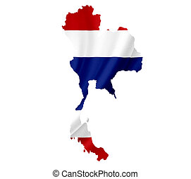 Map of Thailand with waving flag isolated on white
