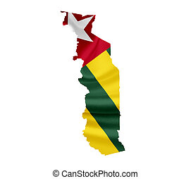 Map of Togo with waving flag isolated on white