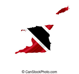 Map of Trinidad and Tobago with waving flag isolated on...