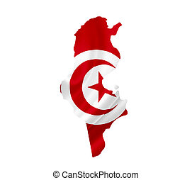 Map of Tunisia with waving flag isolated on white