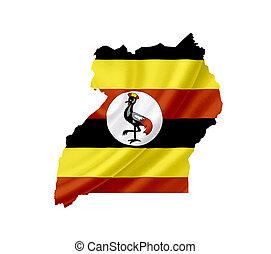 Map of Uganda with waving flag isolated on white