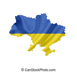 Map of Ukraine with waving flag isolated on white