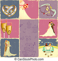 Wedding Collage - illustration of collage of different...