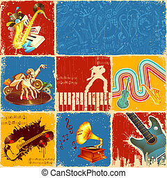 Music Collage - illustration of collage of different music...