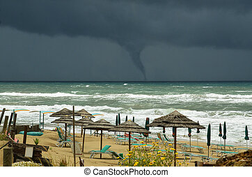 threatening water-spout on the sea