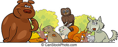 Cartoon forest animals design - Cartoon illustration of...