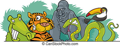 Cartoon Jungle wild animals design - Cartoon illustration of...