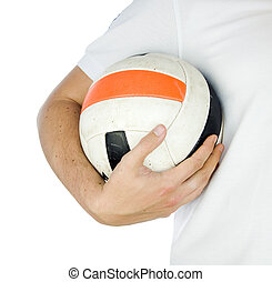 football player holding ball