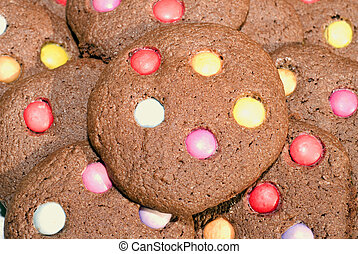 cookies - Close up of brown chocolate cookies, flavored with...
