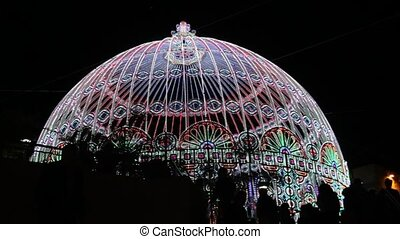 Festive lights - The dome decorated with festive lights