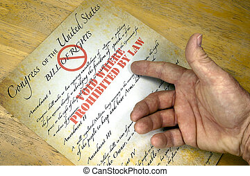 "Bill Of Rights, ""Voided By Law"" - Hand questioning a copy of..."