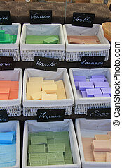 Colorful bars of soap