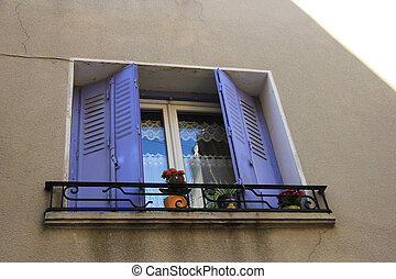 French windows with shutters