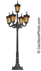 Antique lamp post on white - Antique cast iron lamp post...