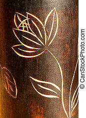 Wood teak texture with carving flower