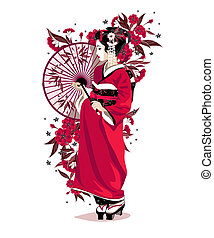 Japanese girl in red traditional clothes with umbrella and...