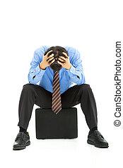 empresa / negocio, hombre, Sentado, maletín, dolor de...
