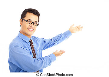 asian young business man showing something