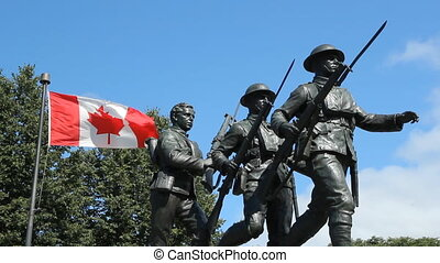 WW1 War Memorial - World War I memorial with Canadian flag...