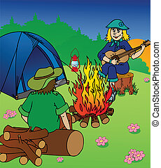 Evening camping by campfire - vector illustration.