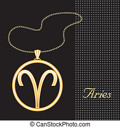 Aries Gold Necklace - Gold embossed horoscope symbol,...