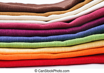 Colourful flax texrile heap for a tableware